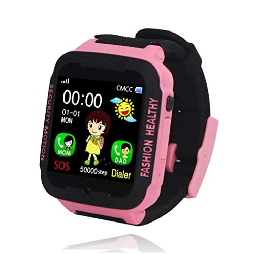 Rsiosle Kid GPS Smart Watch IP67 Waterproof Watch with SIM Phone SOS Function for Android iOS Phone Gives Children The Best Gift (Color : Pinkblack)