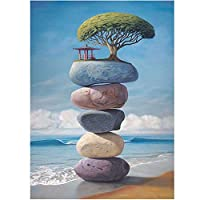 5Dダイヤモンド絵画海辺の風景クロスステッチラインストーン刺繡キットDiyギフト家の装飾クラフトウォールアート,30*40Cm(12*16Inch)