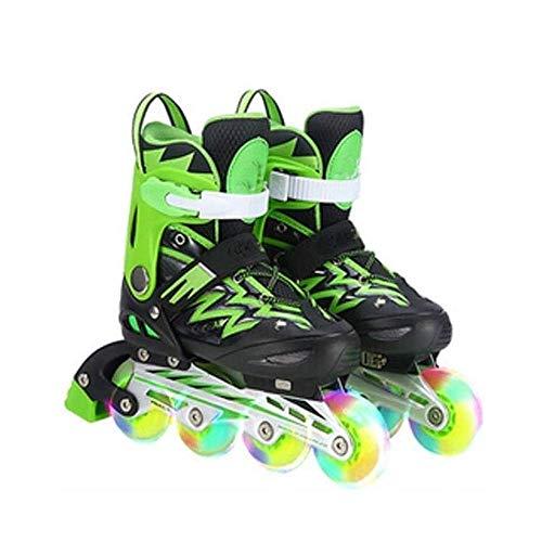 ANJJ Verschleißfeste Inline-Skates, Kinder-Rollschuhe Semi-Soft Shoe Shell PVC Upper Breathable Rubber Wheel