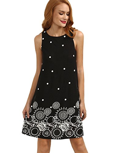 Romwe Women's Summer Sundress Floral Printed Sleeveless Casual A Line Dress Black L