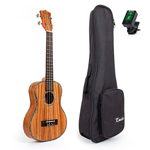 Kmise Ukulele mit massiver Fichtendecke, Rückseite aus Rosenholz, Tenor, 66cm, Hawaii-Gitarre, mit Tasche und Stimmgerät Tenor 26 inch H