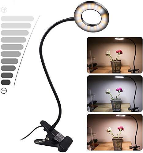 Lámparas Clip, Uplayteck Lámpara Escritorio LED, Lámpara de Mesa con USB Recargable, 3 Modos de Luz, 10 Niveles de Brillo, Lámpara de Lectura para Leer Estudiar