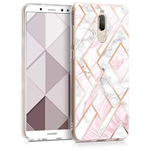 kwmobile Hülle kompatibel mit Huawei Mate 10 Lite - Hülle Handy - Handyhülle Glory Mix Marmor Rosegold Weiß Altrosa