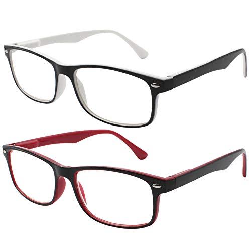 TBOC Gafas de Lectura Presbicia Vista Cansada - (Pack 2 Unidades) Graduadas +2.00 Dioptrías Montura de Pasta Bicolor Blanca y Roja Diseño Moda Hombre Mujer Unisex Lentes de Aumento Leer Ver Cerca