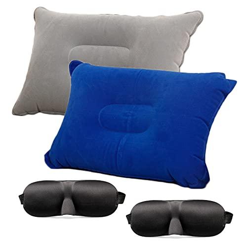 Widream 2 pcs Almohada de Camping con 2 pcs Antifaz para Dormir 3D, Almohada de Viaje Inflable Ultraligera, Almohada Inflable de Playa, para Oficina, Playa, Camping al Aire Libre, Viajes
