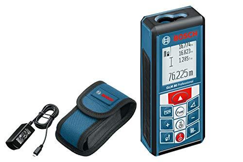 Bosch Professional Laser-Entfernungsmesser GLM 80, 0,05 - 80 m Messbereich, ± 1,5 mm Messgenauigkeit, Schutztasche, Micro-USB-Ladegerät, Herstellerzertifikat