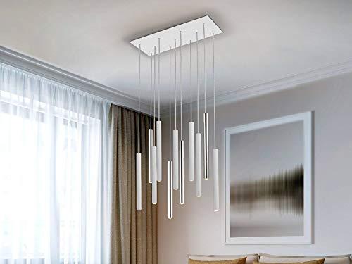 Schuller Varas - Integrierter LED 11 Light Cluster Drop Bar Deckenanhänger Matt Weiß, Chrom