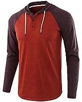 Nantersan Men's Casual Raglan Splice Hoodie Jersey Sweatshirts Long Sleeve Henley T-Shirts Cotton Hooded Shirt Orange/Brown