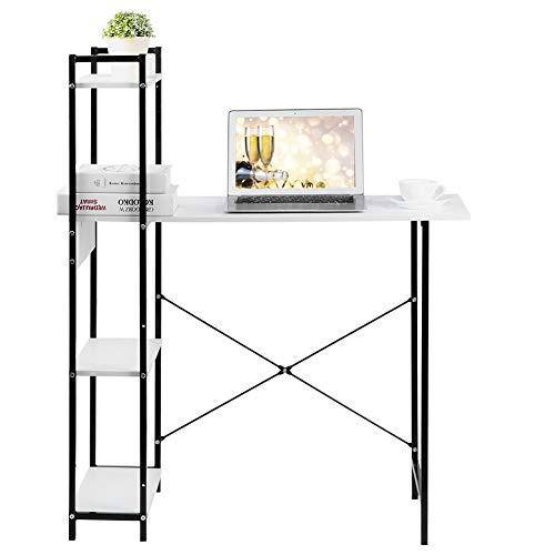 Estudio de computadora Mesa de escritorio simple Estante de almacenamiento de 4 niveles Armario Mesa de escritura para niños Escritorio de computadora multifunción