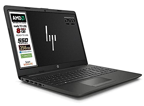 "Notebook Hp 255 G7 CPU AMD 3020e fino a 2,6 GHz display da 15,6"" HD SSD Nvme 256Gb, 8 Gb DDR4, 3 usb, wifi, Masterizzatore DVD CDRW, webcam, Win 10 Pro, Libre Office, Pronto all'uso, Garanzia Italia"
