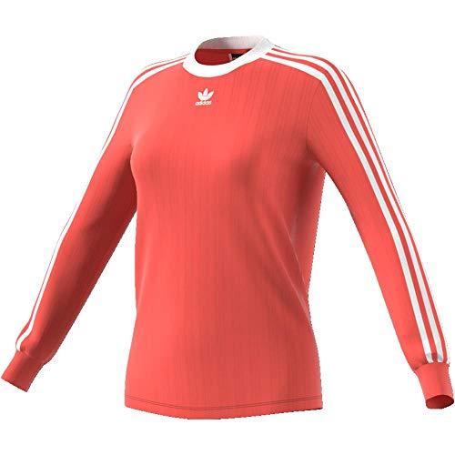 adidas Damen 3 Streifen Langarmshirt, Trace Scarlet, 40