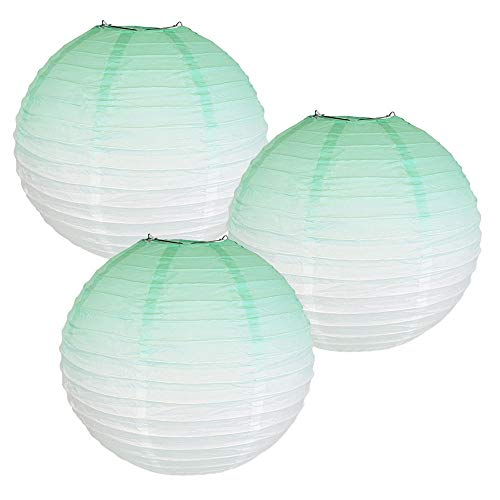 Just Artifacts 12inch Ombre Paper Lanterns (Set of 3, Mermaid Mint)
