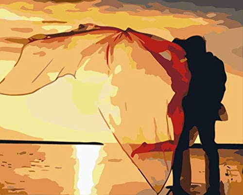 Kit de pintura al óleo 40cm x 50cm sin marco Pareja junto al mar DIY Pintar por Numeros para Adultos Niños Pintura Kit con Pinceles y Pinturas