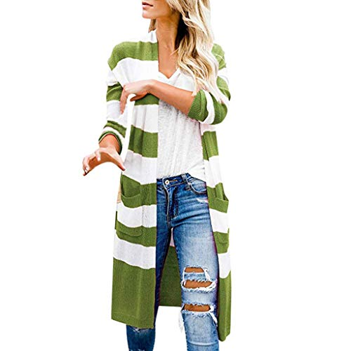 Best Bargain jin&Co Open Front Cardigan Sweaters for Women Pocket Long Sleeve Striped Lightweight ...