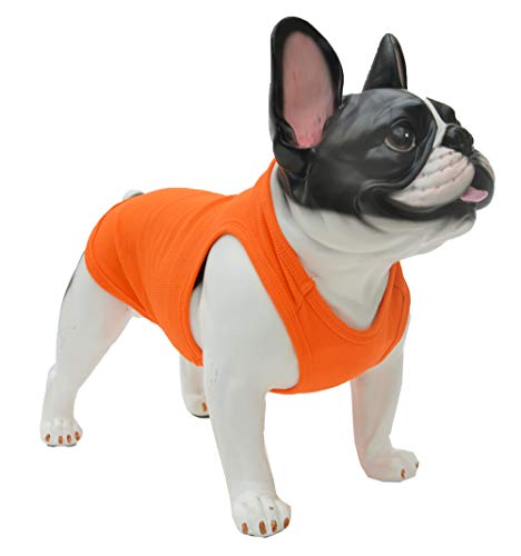 Lovelonglong 2019 Summer Pet Clothing, Dog Clothes Blank T-Shirts Ribbed Tanks Top Thread Vests for Large Medium Small Dogs 100% Cotton Orange M