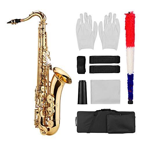 ABMBERTK Bb Tenorsaxophon Sax, Messingkörper Gold Holzblasinstrument, mit Tragetasche Stoffbürste Sax Halsgurte, Gold
