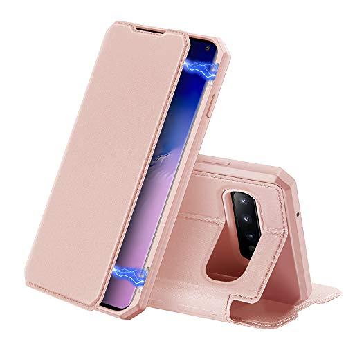 DUX DUCIS Hülle für Samsung Galaxy S10, Premium Leder Magnetic Closure Flip Schutzhülle handyhülle für Samsung Galaxy S10 Tasche (Rosa)