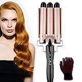 3 Barrel Hair Curling Iron, Sunblue 3 Barrels Curler 3 Barrel Curly Hair Styling Tools Ceramic Hair Waver Waving Styling Tools Hair Crimpers Iron for Deep Waves (Golden-Black)