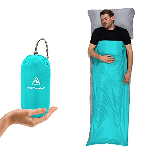 Well Traveled Sleeping Bag Liner, Lightweight Adult Sleeping Sheet for Hiking, Backpacking and Camping, Easily Removable and Washable, Silky Smooth Fabric, Simple to Stuff Sack (Teal (Left Zipper))