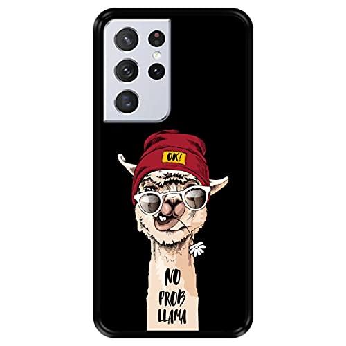Hapdey Funda Negra para [ Samsung Galaxy S21 Ultra 5G ] diseño [ Llama Divertida, No Prob Llama ] Carcasa Silicona Flexible TPU