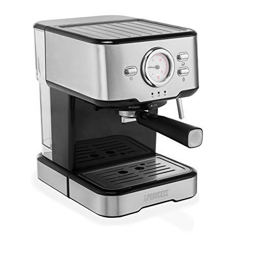 Princess 249412 Espresso und Kapselmaschine, aus Edelstahl, Auch Milchschaumvarianten wie Cappuccino, Latte und Espresso Macchiato, 20 bar, Silber