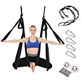 E ETERMTT Aerial Yoga Swing Set, Yoga Hammock, Trapeze Sling, Antigravity Ceiling Hanging Yoga Sling, Inversion Swing with Two Extender Hanging Straps