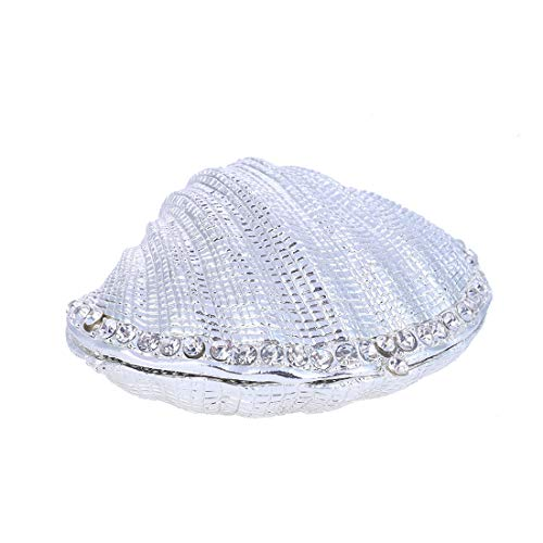 Joyero de plata con bisagras para anillo de boda, diseño de concha de mar de metal