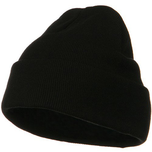 Big Size Superior Cotton Long Knitting Beanie-Black OSFM