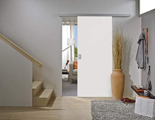 Rahmenlose Holzschiebetür in Weiß | Maße des Türblattes: 755 x 2035 mm | Inkl. Beschläge und einer oberen Laufschiene in 2 Metern | Geeignet als Zimmertürersatz
