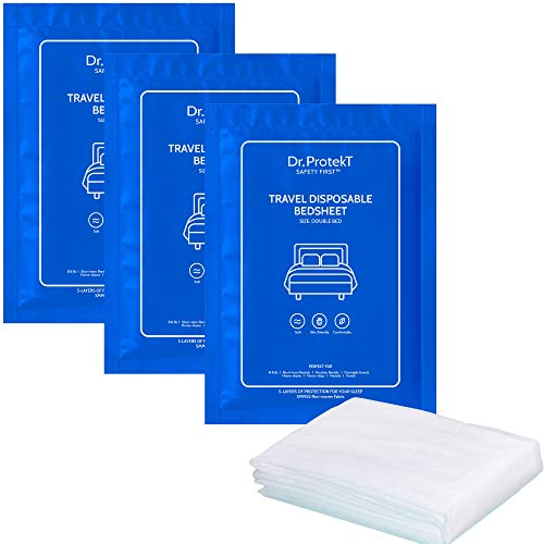 Travel Disposable Bed Sheet. Protective Layer of Soft & Breathable Non-Woven Sheet for Hotels, Camping & Overnight Stay. Easy to use Single Packs (3)