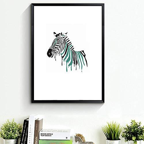 WSNDGWS Color Zebra Bird Painting Pintura Decorativa Habitación de los niños Sala de Estar Creative Home Hanging Painting Sin Marco de Imagen A2 30x40cm