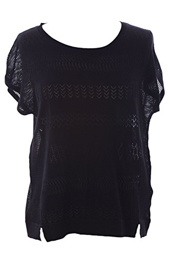 August Silk Women's Boat Neck Mesh Inset Knit Top Small Black