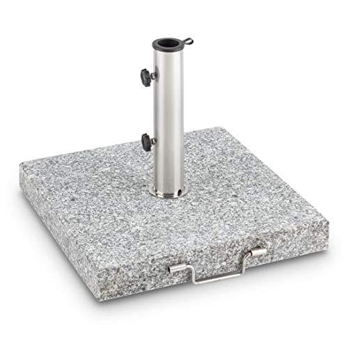 blumfeldt Schirmherr 30SQ Base para sombrilla de Granito para terraza jardín o balcón (Superficie pequeña, Pulida, Piedra Natural, Estable, colocación Sencilla) - Cuadrado