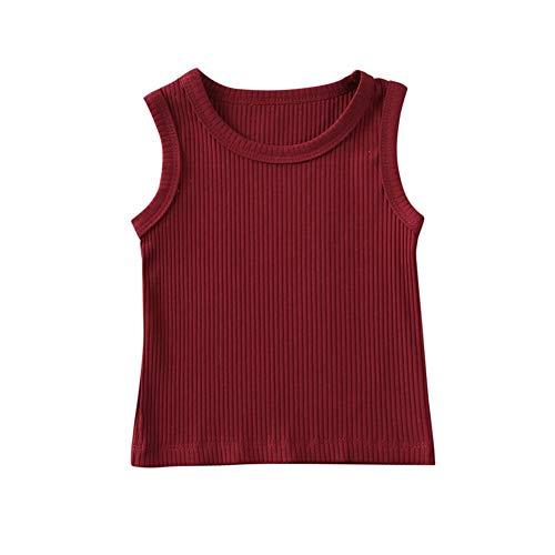 Unisex Baby ärmelloses T-Shirt O-Ausschnitt Weste Top Boy Mädchen Einfarbiges T-Shirt Sommer Casual Top Bluse 1-3T (Weinrot, 0-3M)