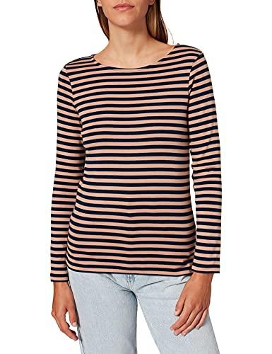TOM TAILOR Damen Basic Stripe T-Shirt, 27641 - Navy Beige Stripe, XL