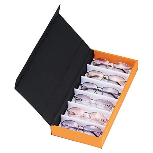 メイガン メガネケース 6本 眼鏡 コレクションケース 収納ボックス (サングラス 老眼鏡 メガネ 時計 小物収納 などに)BK/OR9841