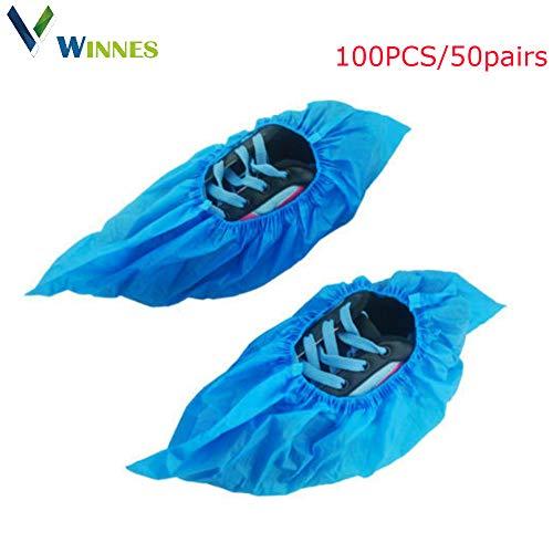 Winnes Einweg-Schuhüberzug, 100 Paar Einweg-Stiefel und Schuhüberzüge Robuster Rutschfester Schuhüberzug Teppichschutz Einheitsgröße Für alle 50 PCS