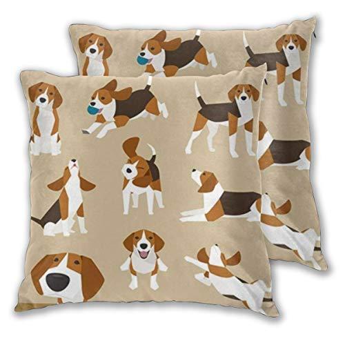 WINCAN Juego de 2 Decorativo Funda de Cojín Trendy Varias Operaciones Cute Dog Beagle Funda de Almohada Cuadrado para Sofá Cama Decoración para Hogar,55x55cm