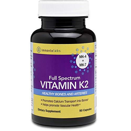 InnovixLabs Full Spectrum Vitamin K2 with MK-7 and MK-4,Pure Trans Bioactive Form,600 mcg K2 per Pill,Soy & Gluten Free & Non-GMO,90 Capsules,Supports Healthy Bones & Arteries Vitamin K2MK-7 and MK-4