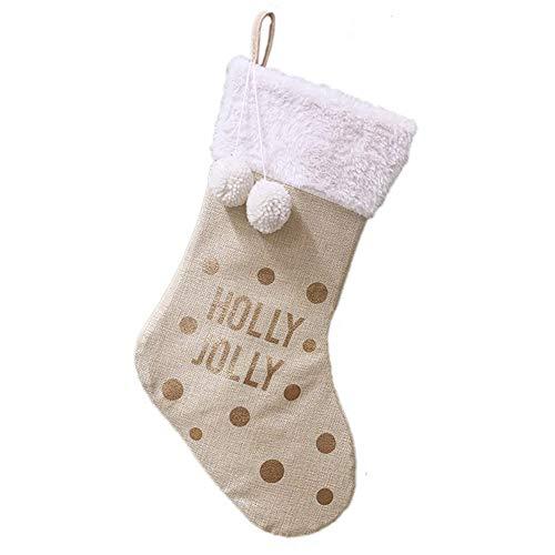 Takefuns - Calze natalizie dorate in iuta con lettera di Natale, per casa, negozio, da appendere, per feste, feste, festival, camino, accessori