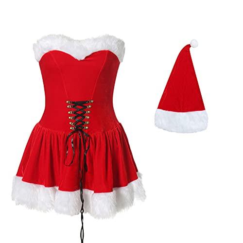 Disfraz de Elfo de Santa para mujer, de lujo, con capucha, para Sra. Claus Santa, Falda de baile, L