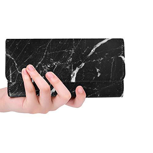Einzigartige Abstrakte Natürliche Marmor Schwarz Weiß Schwarz Frauen Trifold Brieftasche Lange Geldbörse Kreditkarteninhaber Fall Handtasche