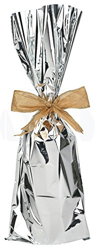 Metallic Mylar Wine Silver Gift Bags for Bottles by MT Products-Sparkle Look- Great for a Wine Pull - Made in The USA (25 Pieces)