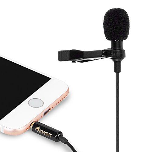 OKWINTコンデンサーマイクピンマイク高音質ミニマイククリップiPhone/iPad/Android/pc/カメラ対応収納ポーチ付属(ブラック)