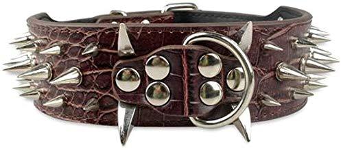 Collar de Perro de 2'de Ancho de Cuero Tachonado Pitbull Gran Collar de Perro Ajustable para Perros Medianos (Color : D, Size : L)