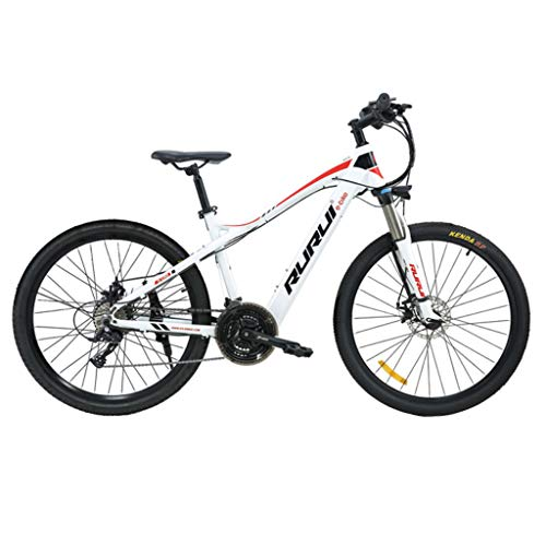 FFF-HAT 27.5-inch White Stealth Lithium Battery Electric Mountain Bike 27-speed Variable-speed Long-distance Off-road Bicycle Shock Absorption and Comfort-Riding Version