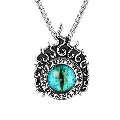 HMANE Azul gato's Eye Stone Angel's Eye Inlaid Colgante Collar de Hombres...