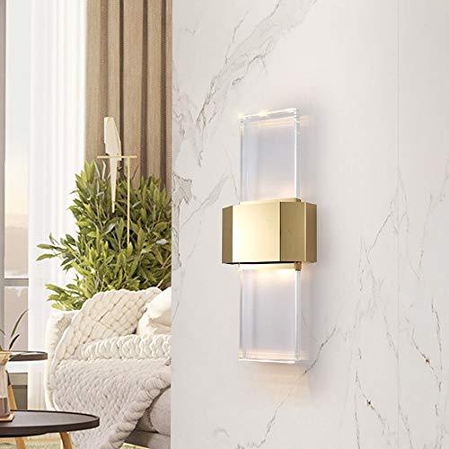 DKee Luces de pared de lujo simple LED oro caliente cristal lámpara de pared 25 * 56 cm Villa hotel restaurante pasillo salón estudio