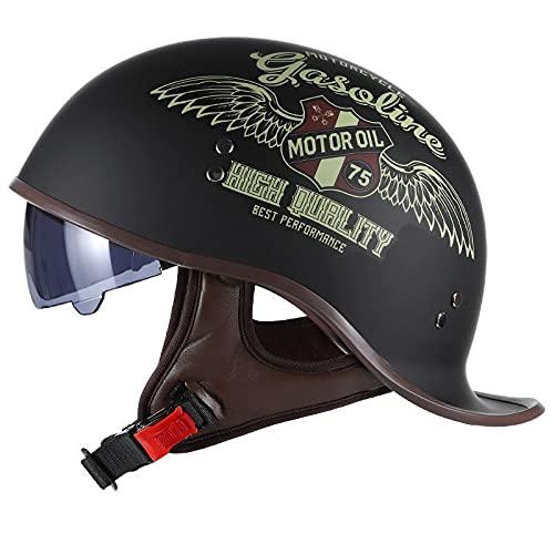 Vintage Casco De Motocicleta,con Visera Cascos Abiertos de Moto Casco Moto Jet ECE Homologado Half-Helmet,para Hombres/Mujeres Adultos Medio Casco G,L 57-58