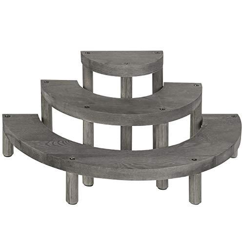 MyGift - Expositor de 3 pisos para cupcakes (madera semicircular), color gris